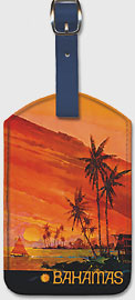 Bahamas - National Airlines - Sailing at Sunset - Leatherette Luggage Tags