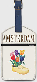 Amsterdam, Holland - Fly Canadian Pacific Air Lines - Dutch Tulips in a Wooden Clog - Leatherette Luggage Tags