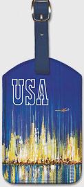 USA Sabena Belgian World Airlines - New York Manhattan Skyline - Leatherette Luggage Tags