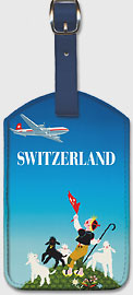 Swissair - Switzerland - Shepherd with Lambs - Leatherette Luggage Tags