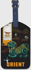 Orient - Philippine Air Lines PAL - Chinese Mythological Jade Carving - DC-68 DC-6 - Leatherette Luggage Tags