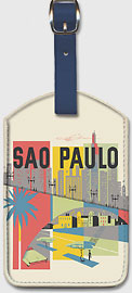 Sao Paulo, Brazil - Braniff International Airways - Leatherette Luggage Tags