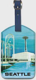 Seattle - Space Needle and Seattle Center - United Airlines - Leatherette Luggage Tags