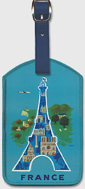 France - Eiffel Tower, Paris - Leatherette Luggage Tags