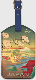Japan - Mt. Fuji And Cherry Blossoms - Leatherette Luggage Tags