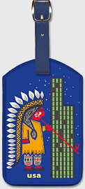 USA - Native American and Skyscraper - Leatherette Luggage Tags