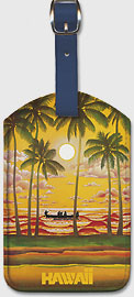 Hawaii Outrigger on Sunset - Fly Hawaiian Air - Hawaiian Airlines - Leatherette Luggage Tags