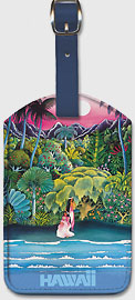 Fly Hawaiian Air - Hawaii Women on the Beach and Tropical Forest - Hawaiian Airlines - Leatherette Luggage Tags