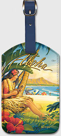 Greetings from Waikiki - Vintage Hawaiian Art Leatherette Luggage Tags