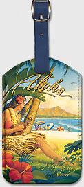 Greetings from Waikiki - Vintage Hawaiian Art Leatherette Luggage Tags