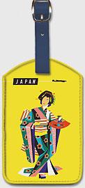 Japan - Qantas Airways - Japanese Geisha - Leatherette Luggage Tags
