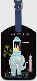 India - Indian Elephant with Howdah (Carriage) - Leatherette Luggage Tags