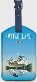 Switzerland - Swissair - Douglas DC-4 Airliner - Swiss Lake and Mountains - Leatherette Luggage Tags