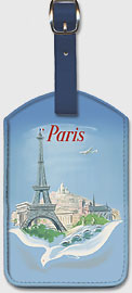 Paris - Air France - Eiffel Tower - Leatherette Luggage Tags