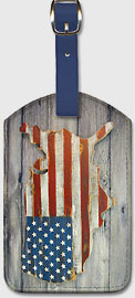 USA Flag - Mainland Shape - Wood - Leatherette Luggage Tags