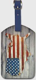 USA Flag - Mainland Shape - Wood - Leatherette Luggage Tags
