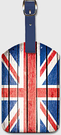 UK Flag on Wood - Leatherette Luggage Tags