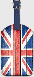 UK Flag on Wood - Leatherette Luggage Tags