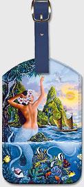 Wahine from the Sea, Hawaiian Mermaid - Hawaiian Leatherette Luggage Tags