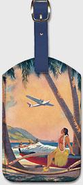 Hawaiian Fantasy, Hula Girl and Outrigger - Hawaiian Leatherette Luggage Tags