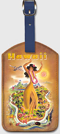 Hawaii - Hula Dancer - Hawaiian Leatherette Luggage Tags