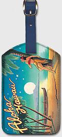 Aloha Hawaii - Vintage Hawaiian Art Leatherette Luggage Tags