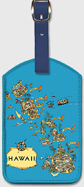 Hawaii - Vintage Pictorial Map c.1930's - Hawaiian Leatherette Luggage Tags