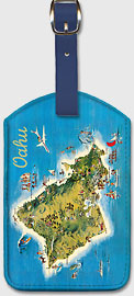 The Island of Oahu Hawaii - Pictorial Map - Hawaiian Leatherette Luggage Tags