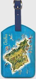 The Island of Oahu Hawaii - Pictorial Map - Hawaiian Leatherette Luggage Tags