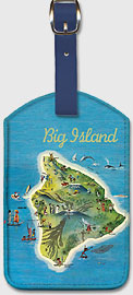 Big Island - The Island of Hawaii Vintage Pictorial Map c.1962 - Hawaiian Leatherette Luggage Tags