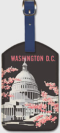 Washington DC Capitol Building - Leatherette Luggage Tags