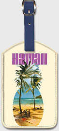 Hawaii Pineapple - Hanauma Bay Beach - Leatherette Luggage Tags
