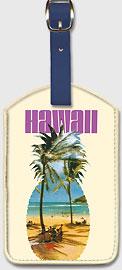 Hawaii Pineapple - Hanauma Bay Beach - Leatherette Luggage Tags