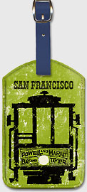 San Francisco - Powell & Market, Bay & Taylor Streets Cable Car Line - Leatherette Luggage Tags