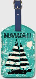 Hawaii - Sailboat Sunset - Hawaiian Leatherette Luggage Tags