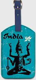 India - Four Arm Bodhisattva Holding Lotus Flower - Leatherette Luggage Tags