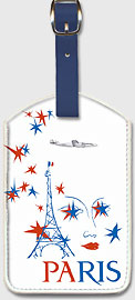 Paris France - Eiffel Tower - Leatherette Luggage Tags