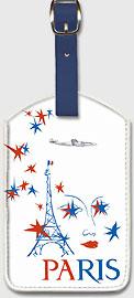 Paris France - Eiffel Tower - Leatherette Luggage Tags