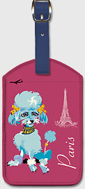 Paris - Blue Poodle and Eiffel Tower - Leatherette Luggage Tags