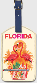 Florida Flamingos - Leatherette Luggage Tags