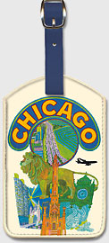 Chicago Illinois - Leatherette Luggage Tags