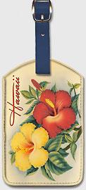 Hawaiian Hibiscus - Vintage Hawaiian Art Leatherette Luggage Tags