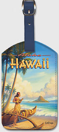 Aloha Hawaii - Hula Girl Playing Ukulele - Mokoli'i Island (Chinaman's Hat) - Hawaiian Leatherette Luggage Tags