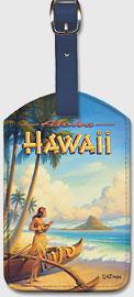 Aloha Hawaii - Hula Girl Playing Ukulele - Mokoli'i Island (Chinaman's Hat) - Hawaiian Leatherette Luggage Tags