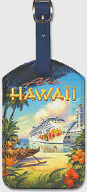 Pride of Hawaii Cruise Ship - Aloha Towers, Honolulu Harbor - Hawaiian Leatherette Luggage Tags