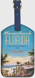 Miami Beach, Florida - Eastern Airlines - Just 10 hrs from New York - Leatherette Luggage Tags