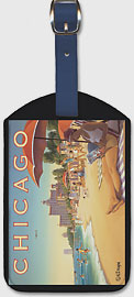 Chicago, Illinois - Lake Michigan - Chicago and Southern Air Lines (C&S) - Edgewater Beach Hotel - Leatherette Luggage Tags