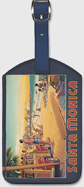 Visit Santa Monica - California - Santa Monica Pier - Leatherette Luggage Tags