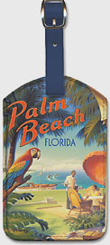 Palm Beach, Florida - Leatherette Luggage Tags