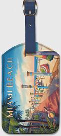 Miami Beach, Florida - Leatherette Luggage Tags